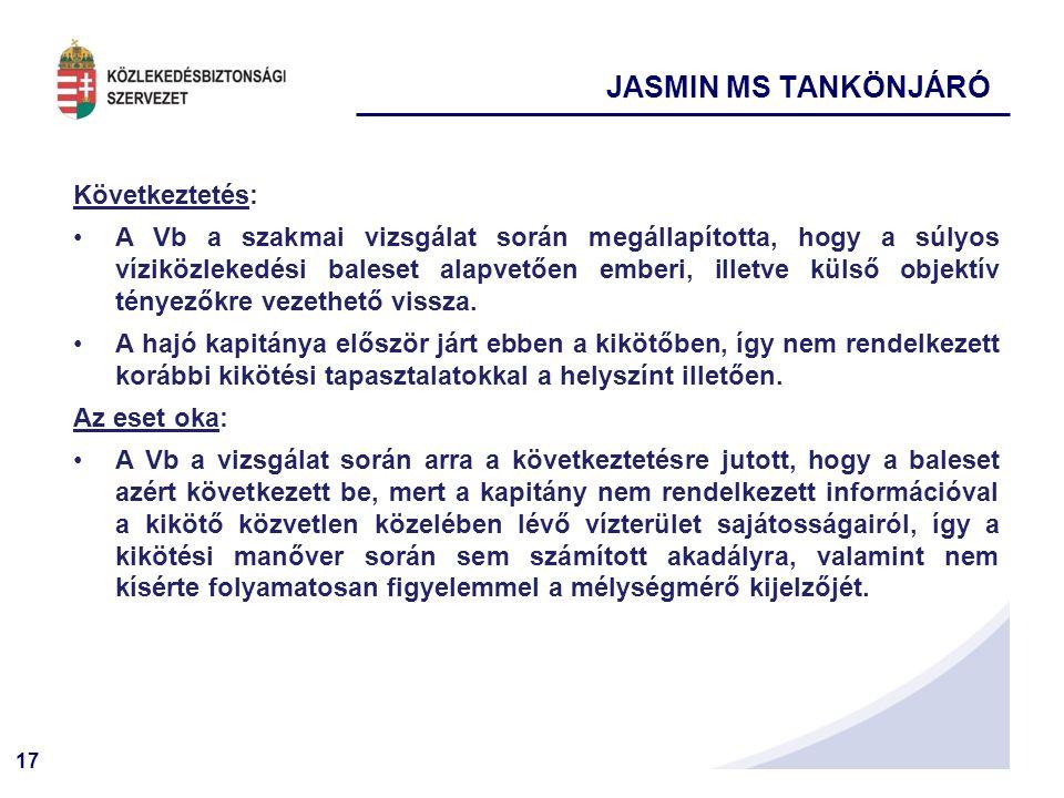 JASMIN MS TANKÖNJÁRÓ Következtetés: