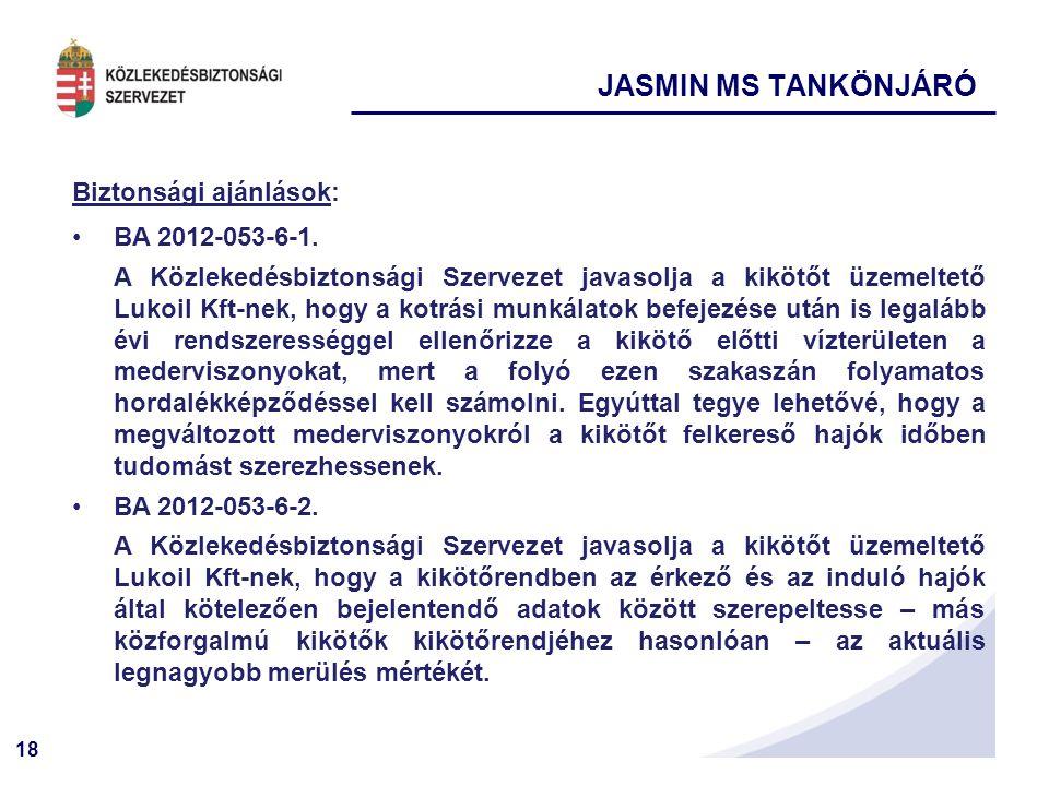 JASMIN MS TANKÖNJÁRÓ Biztonsági ajánlások: BA 2012-053-6-1.