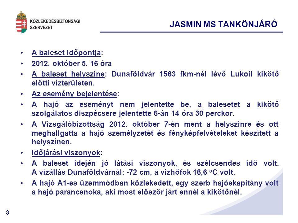 JASMIN MS TANKÖNJÁRÓ A baleset időpontja: 2012. október 5. 16 óra