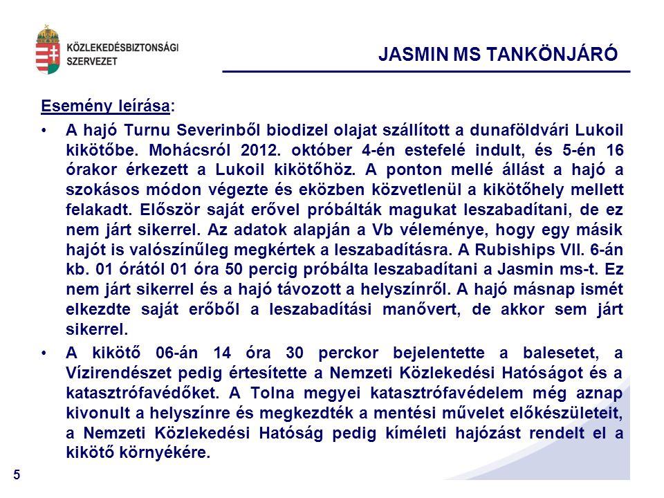 JASMIN MS TANKÖNJÁRÓ Esemény leírása: