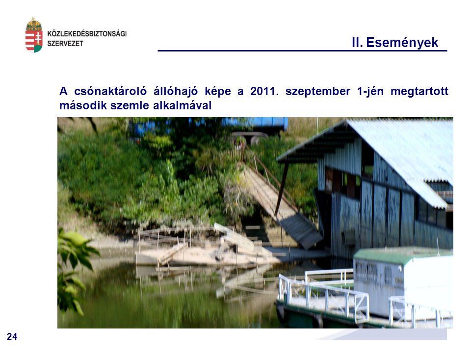II. Események A csónaktároló állóhajó képe a 2011.