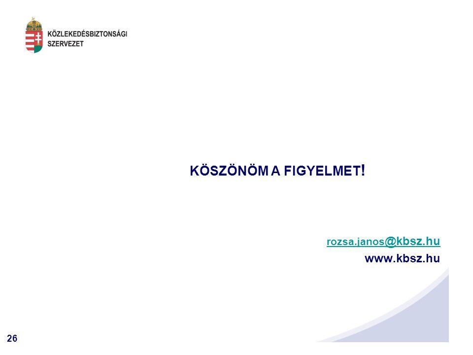 KÖSZÖNÖM A FIGYELMET! rozsa.janos@kbsz.hu www.kbsz.hu