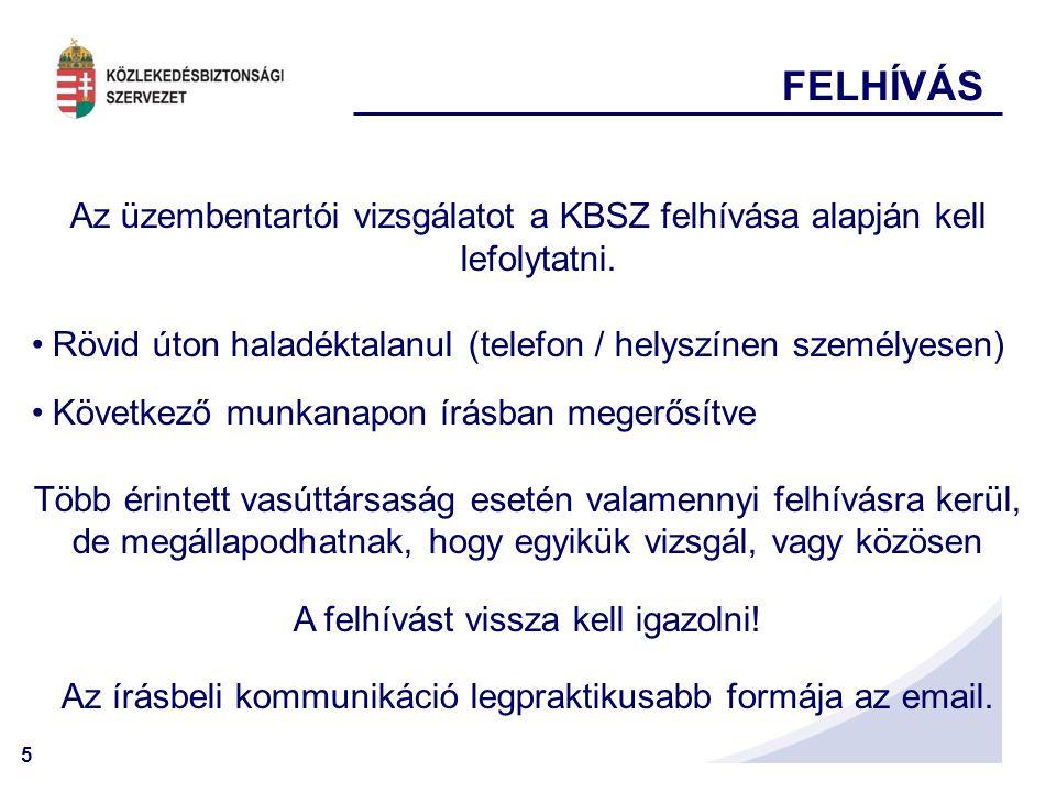 FELHÍVÁS Az üzembentartói vizsgálatot a KBSZ felhívása alapján kell lefolytatni. Rövid úton haladéktalanul (telefon / helyszínen személyesen)