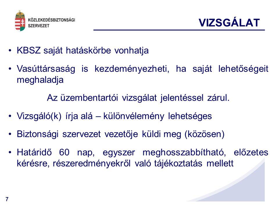 Az üzembentartói vizsgálat jelentéssel zárul.