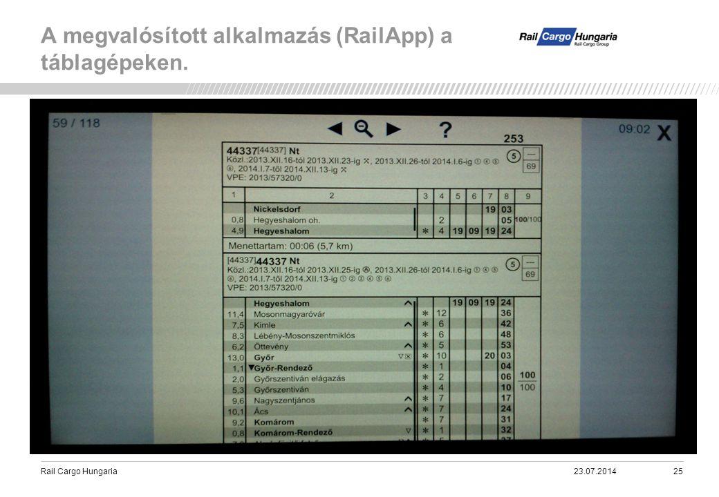 A megvalósított alkalmazás (RailApp) a táblagépeken.