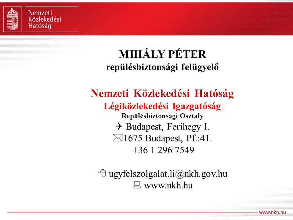 MIHÁLY PÉTER Nemzeti Közlekedési Hatóság