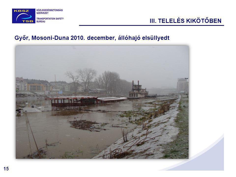 III. TELELÉS KIKÖTŐBEN Győr, Mosoni-Duna 2010. december, állóhajó elsüllyedt