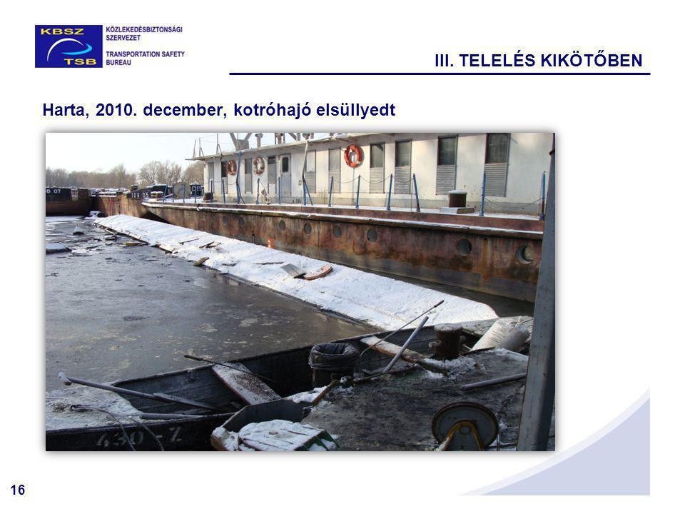 III. TELELÉS KIKÖTŐBEN Harta, 2010. december, kotróhajó elsüllyedt