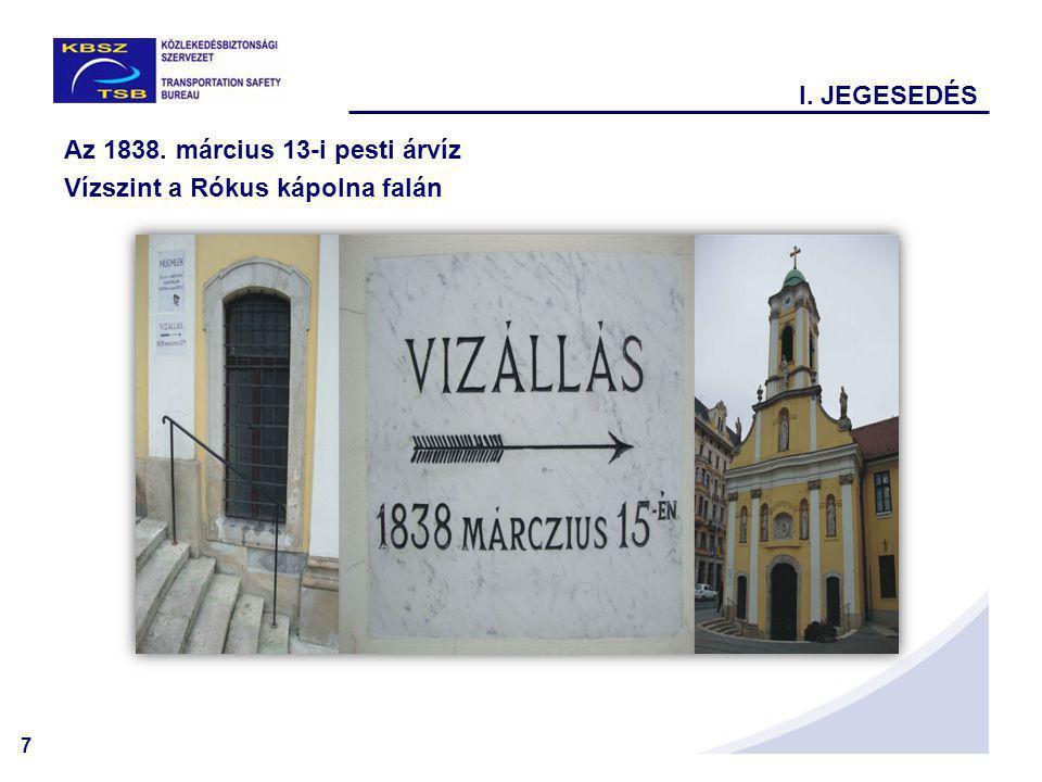 I. JEGESEDÉS Az 1838. március 13-i pesti árvíz Vízszint a Rókus kápolna falán