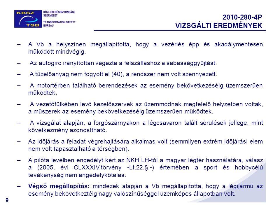 2010-280-4P VIZSGÁLTI EREDMÉNYEK