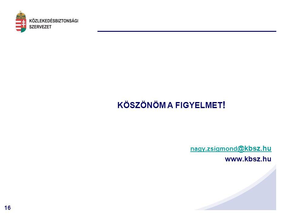 KÖSZÖNÖM A FIGYELMET! nagy.zsigmond@kbsz.hu www.kbsz.hu