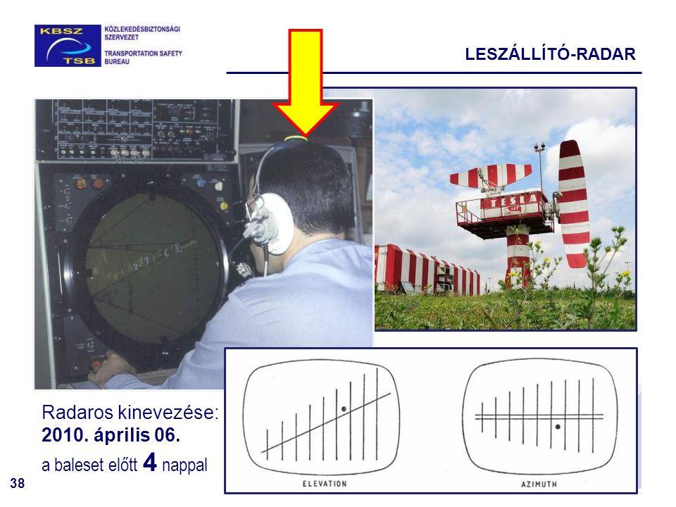 Radaros kinevezése: 2010. április 06. a baleset előtt 4 nappal