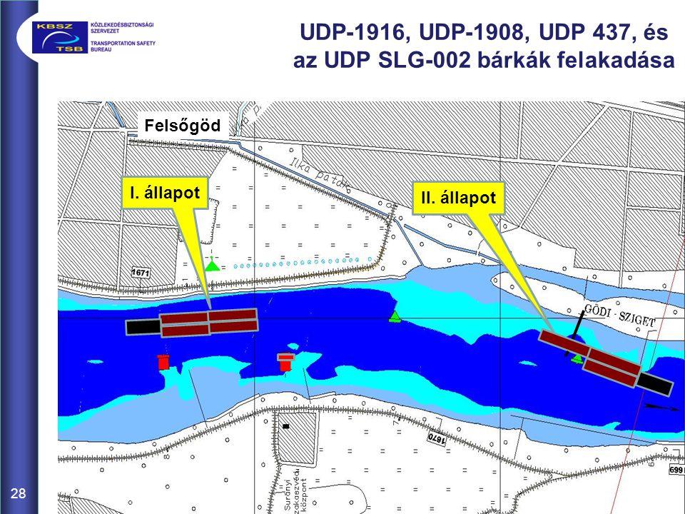 UDP-1916, UDP-1908, UDP 437, és az UDP SLG-002 bárkák felakadása