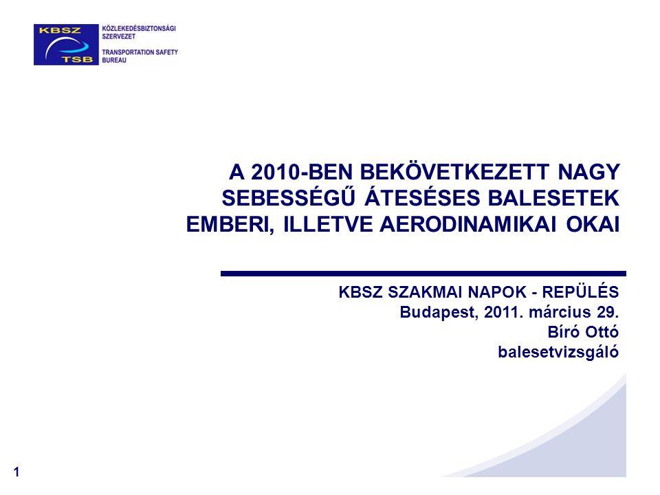A 2010-BEN BEKÖVETKEZETT NAGY SEBESSÉGŰ ÁTESÉSES BALESETEK EMBERI, ILLETVE AERODINAMIKAI OKAI