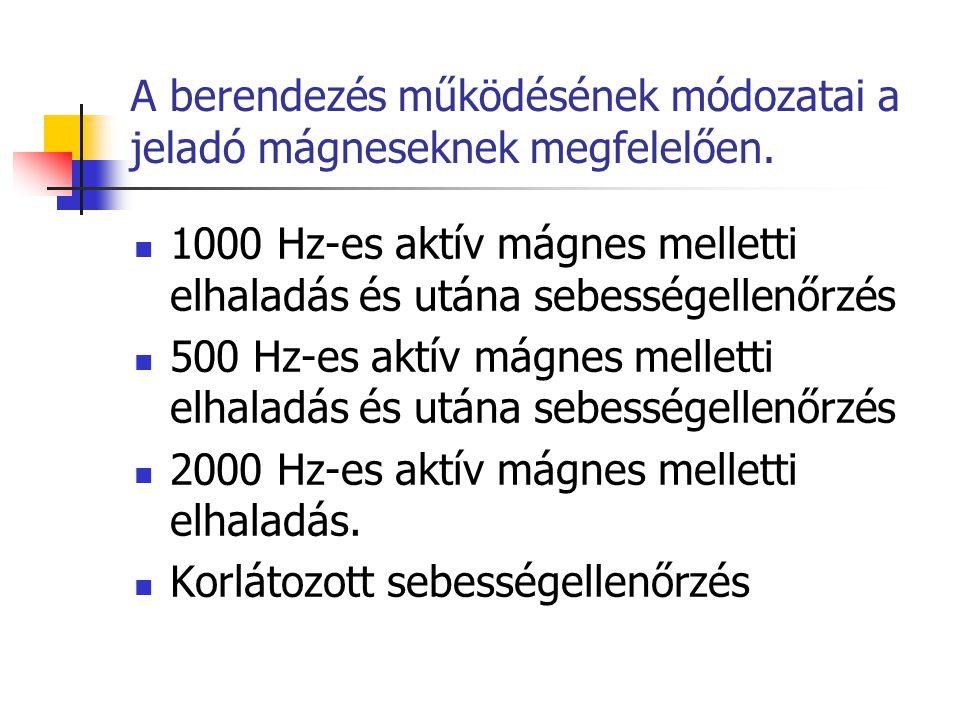 A berendezés működésének módozatai a jeladó mágneseknek megfelelően.