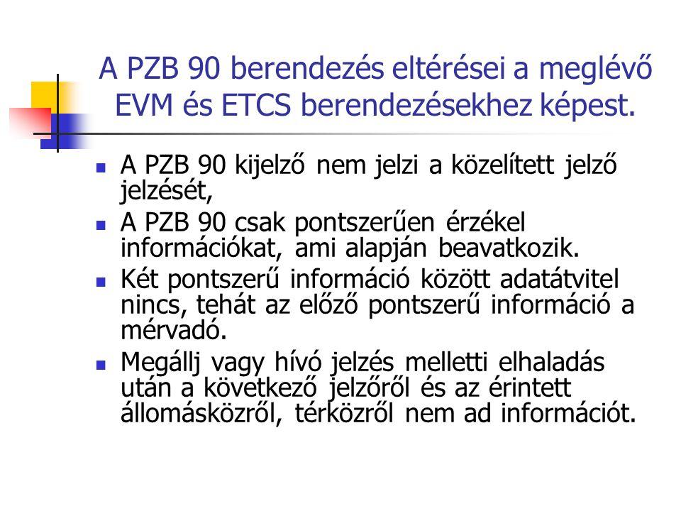 A PZB 90 berendezés eltérései a meglévő EVM és ETCS berendezésekhez képest.