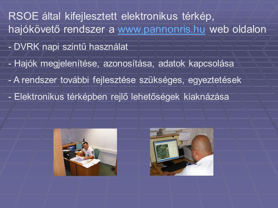 RSOE által kifejlesztett elektronikus térkép, hajókövető rendszer a www.pannonris.hu web oldalon