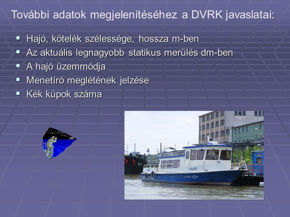 További adatok megjelenítéséhez a DVRK javaslatai: