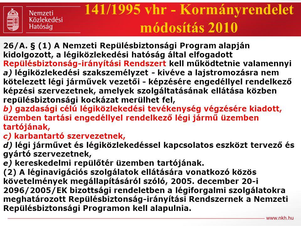 141/1995 vhr - Kormányrendelet módosítás 2010