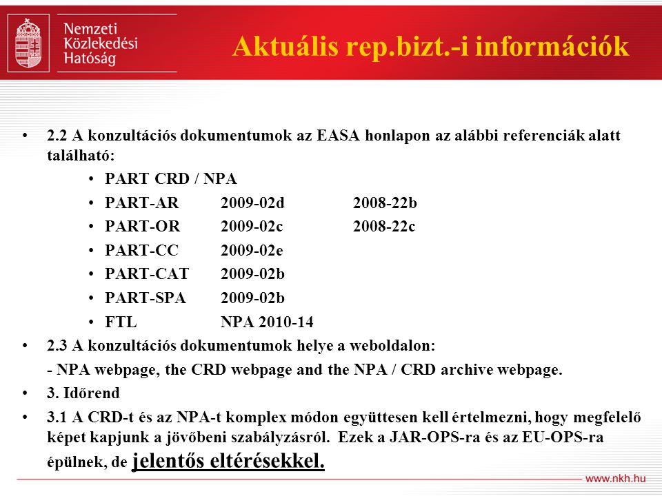 Aktuális rep.bizt.-i információk