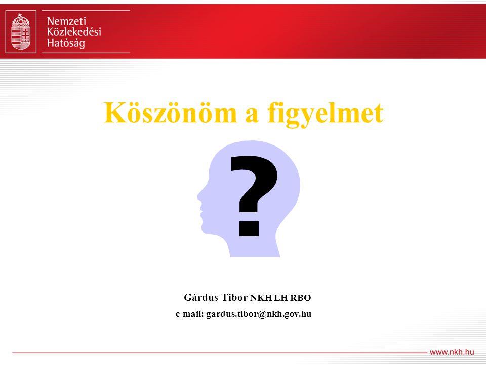 Köszönöm a figyelmet Gárdus Tibor NKH LH RBO e-mail: gardus. tibor@nkh