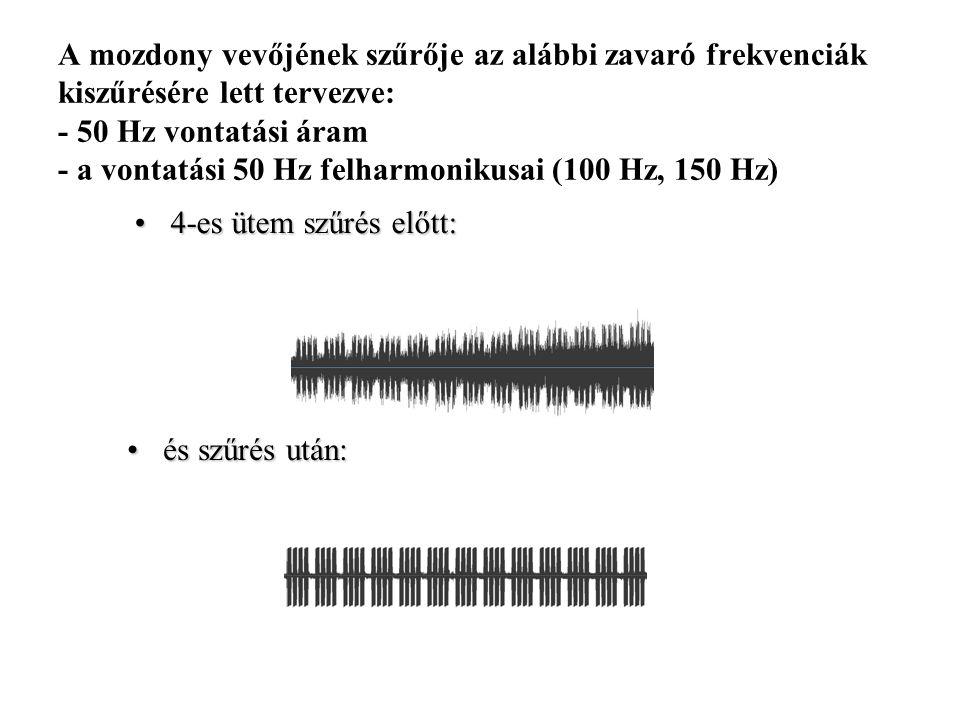 A mozdony vevőjének szűrője az alábbi zavaró frekvenciák kiszűrésére lett tervezve: - 50 Hz vontatási áram - a vontatási 50 Hz felharmonikusai (100 Hz, 150 Hz)