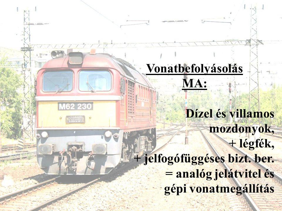 Vonatbefolyásolás MA: Dízel és villamos mozdonyok, + légfék, + jelfogófüggéses bizt. ber. = analóg jelátvitel és.