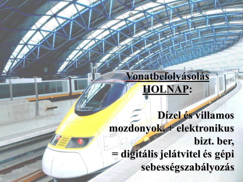 Vonatbefolyásolás HOLNAP: Dízel és villamos mozdonyok, + elektronikus bizt. ber, = digitális jelátvitel és gépi.