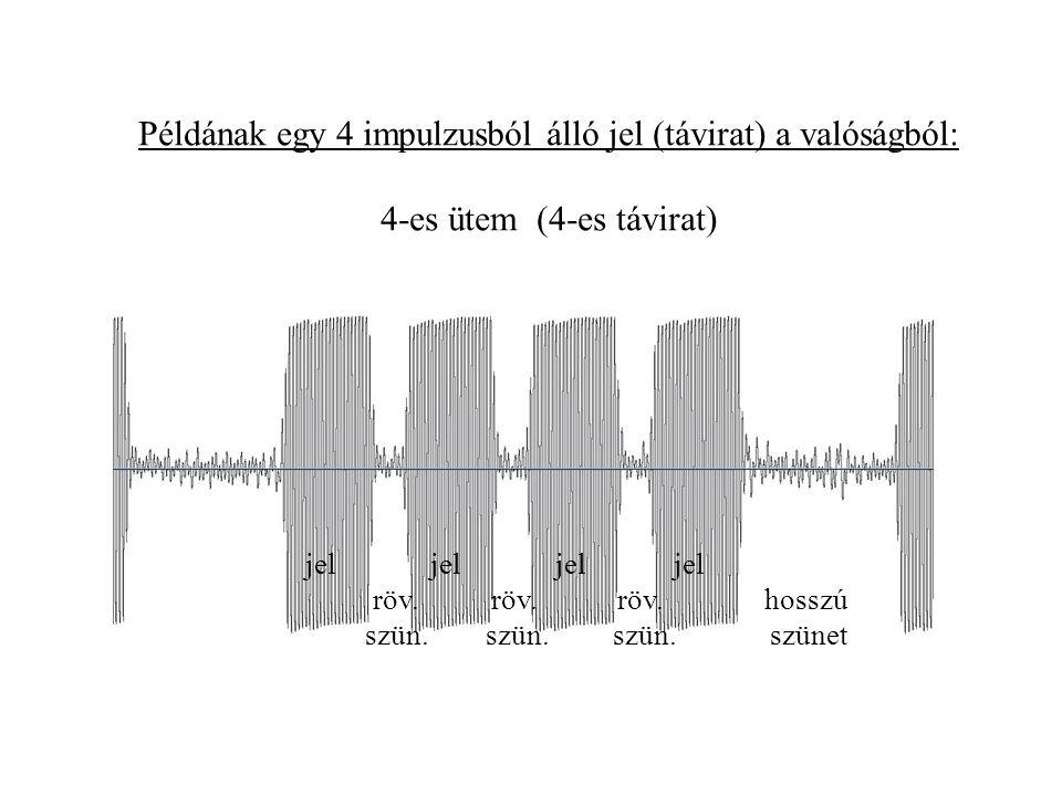 Példának egy 4 impulzusból álló jel (távirat) a valóságból: 4-es ütem (4-es távirat)