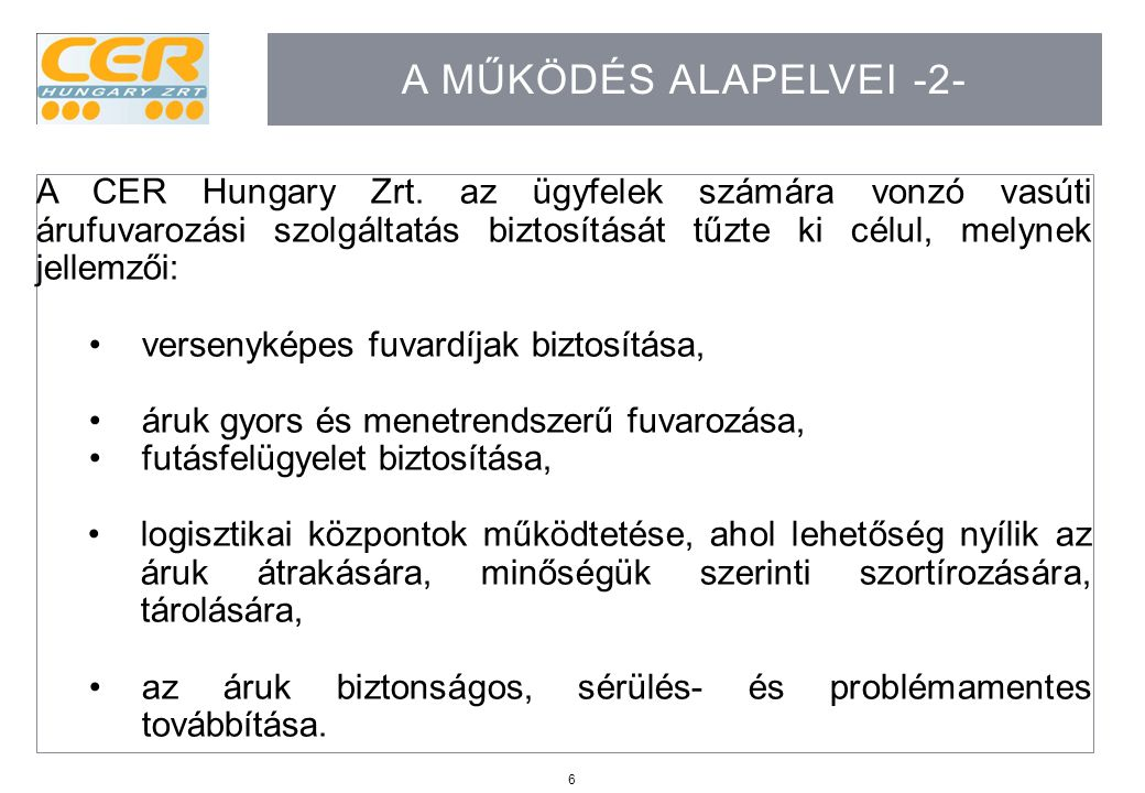 A működés alapelvei -2-