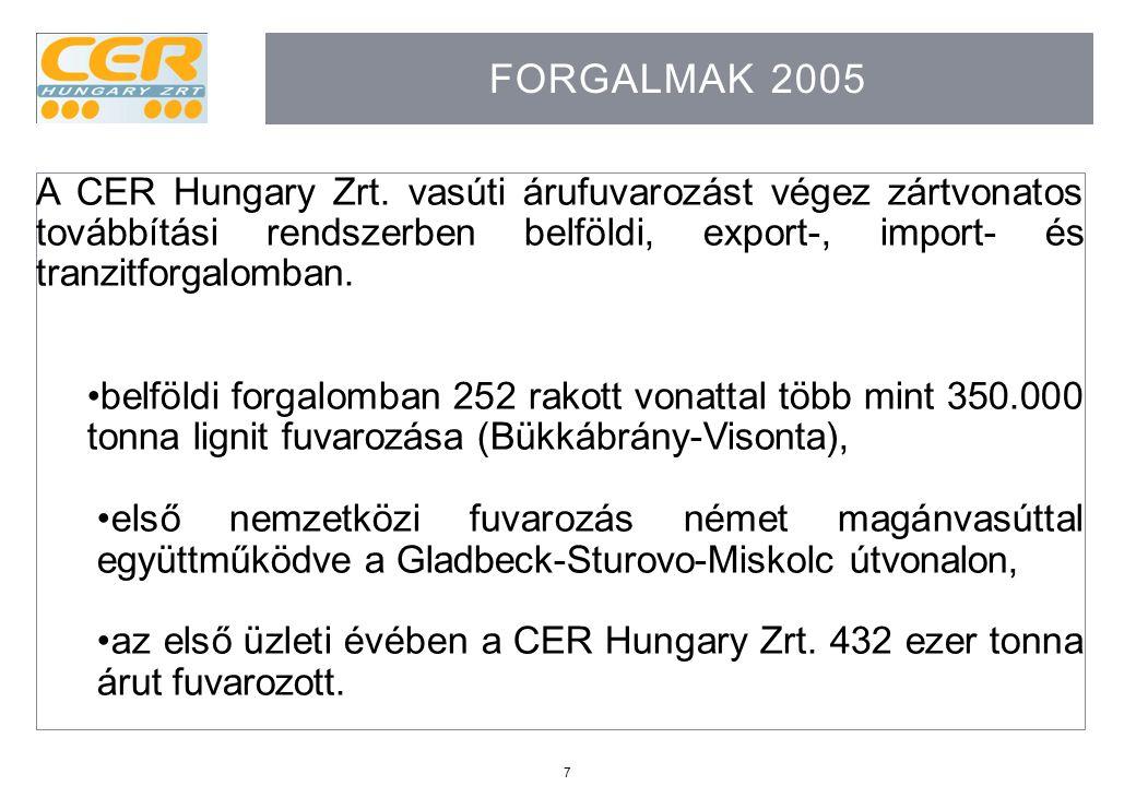 Forgalmak 2005 A CER Hungary Zrt. vasúti árufuvarozást végez zártvonatos továbbítási rendszerben belföldi, export-, import- és tranzitforgalomban.