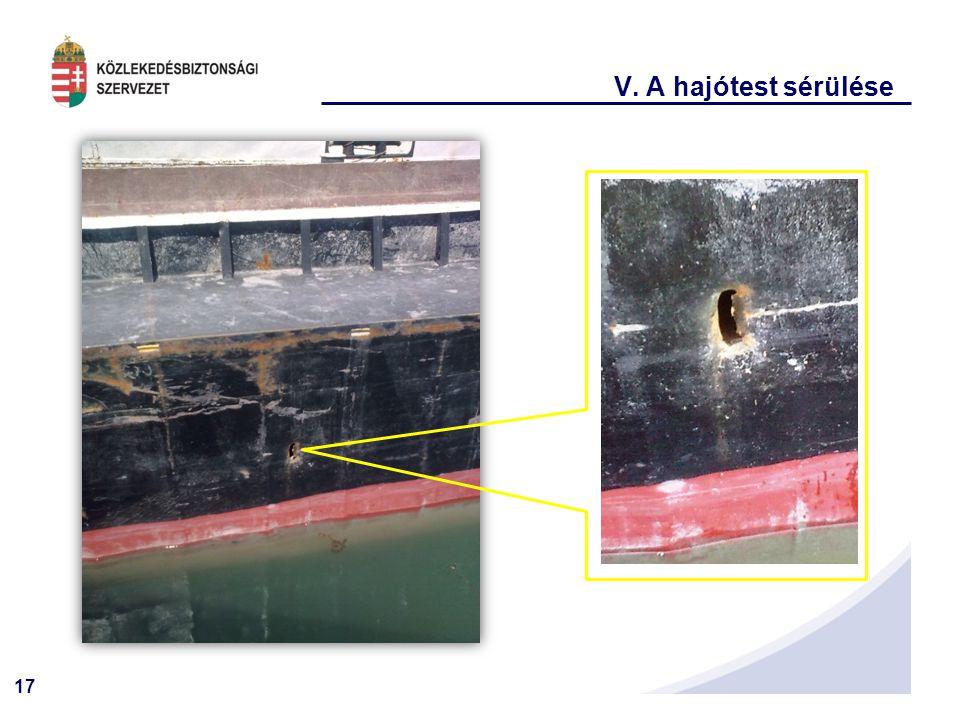 V. A hajótest sérülése