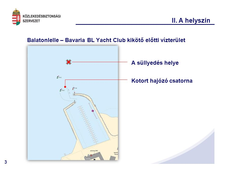 II. A helyszín Balatonlelle – Bavaria BL Yacht Club kikötő előtti vízterület.