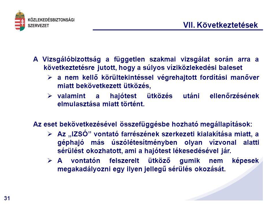 VII. Következtetések A Vizsgálóbizottság a független szakmai vizsgálat során arra a következtetésre jutott, hogy a súlyos víziközlekedési baleset.