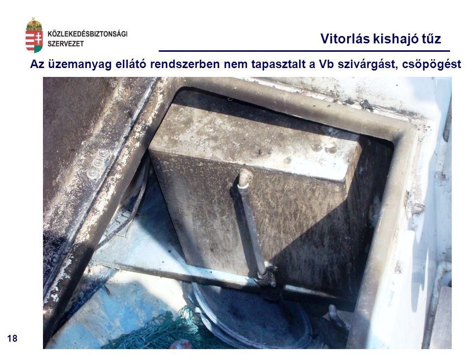 Vitorlás kishajó tűz Az üzemanyag ellátó rendszerben nem tapasztalt a Vb szivárgást, csöpögést