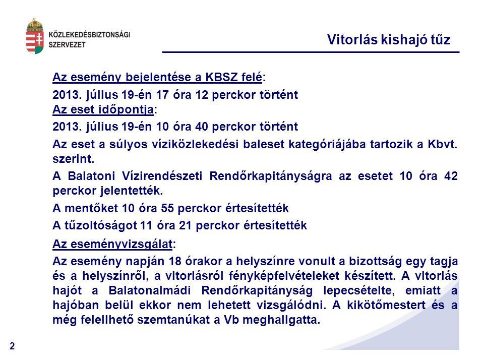 Vitorlás kishajó tűz Az esemény bejelentése a KBSZ felé: