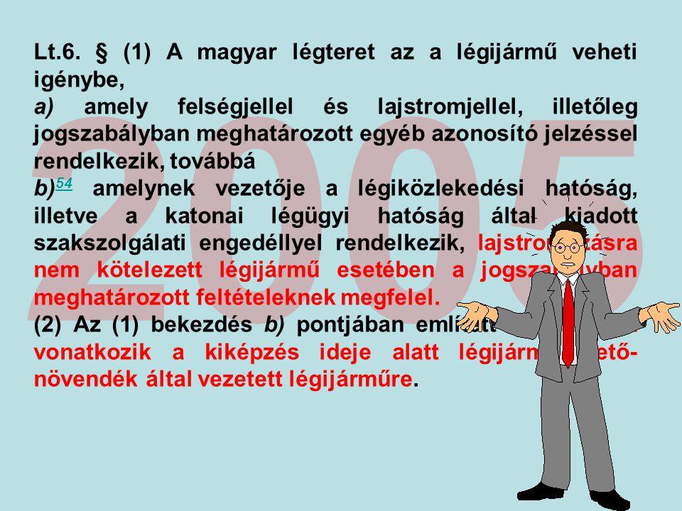 2005 Lt.6. § (1) A magyar légteret az a légijármű veheti igénybe,