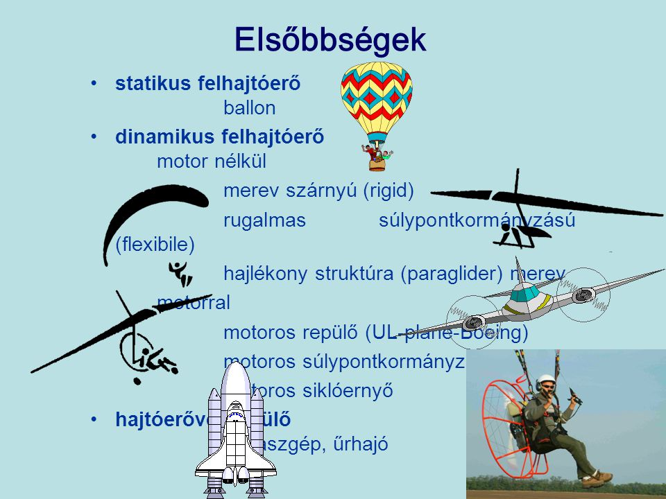 Elsőbbségek statikus felhajtóerő ballon dinamikus felhajtóerő