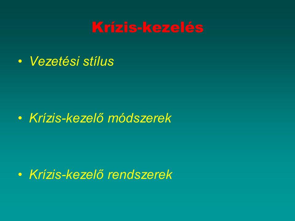 Krízis-kezelés Vezetési stílus Krízis-kezelő módszerek