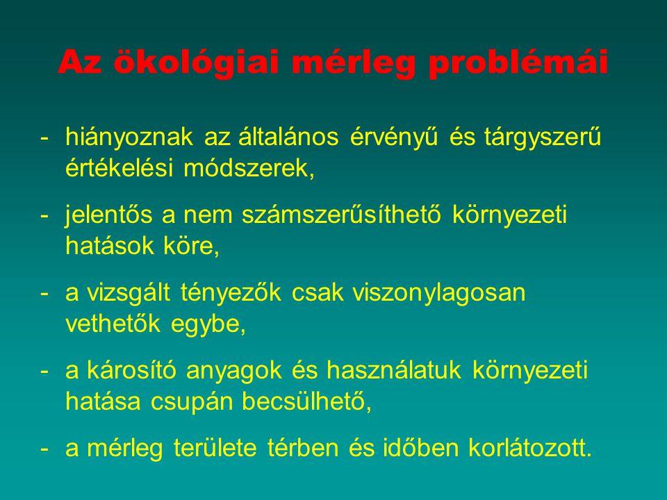 Az ökológiai mérleg problémái