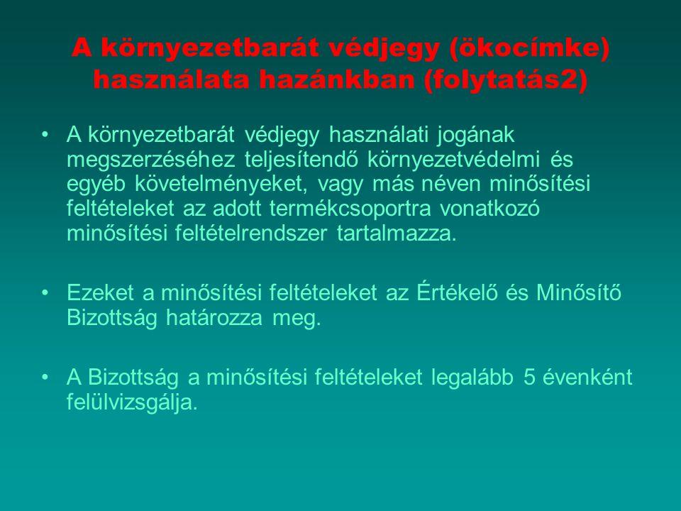 A környezetbarát védjegy (ökocímke) használata hazánkban (folytatás2)