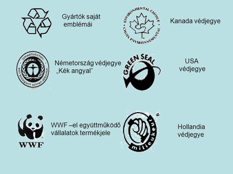 """Gyártók saját emblémái. Kanada védjegye. USA. védjegye. Németország védjegye. """"Kék angyal WWF –el együttműködő."""