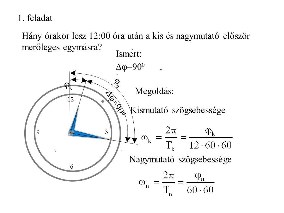 1. feladat Hány órakor lesz 12:00 óra után a kis és nagymutató először merőleges egymásra Ismert:
