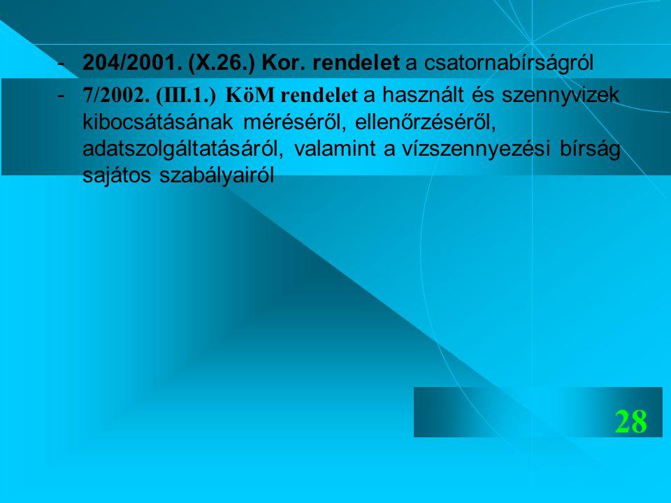 - 204/2001. (X.26.) Kor. rendelet a csatornabírságról