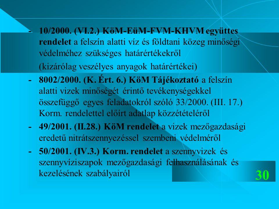 - 10/2000. (VI.2.) KöM-EüM-FVM-KHVM együttes rendelet a felszín alatti víz és földtani közeg minőségi védelméhez szükséges határértékekről