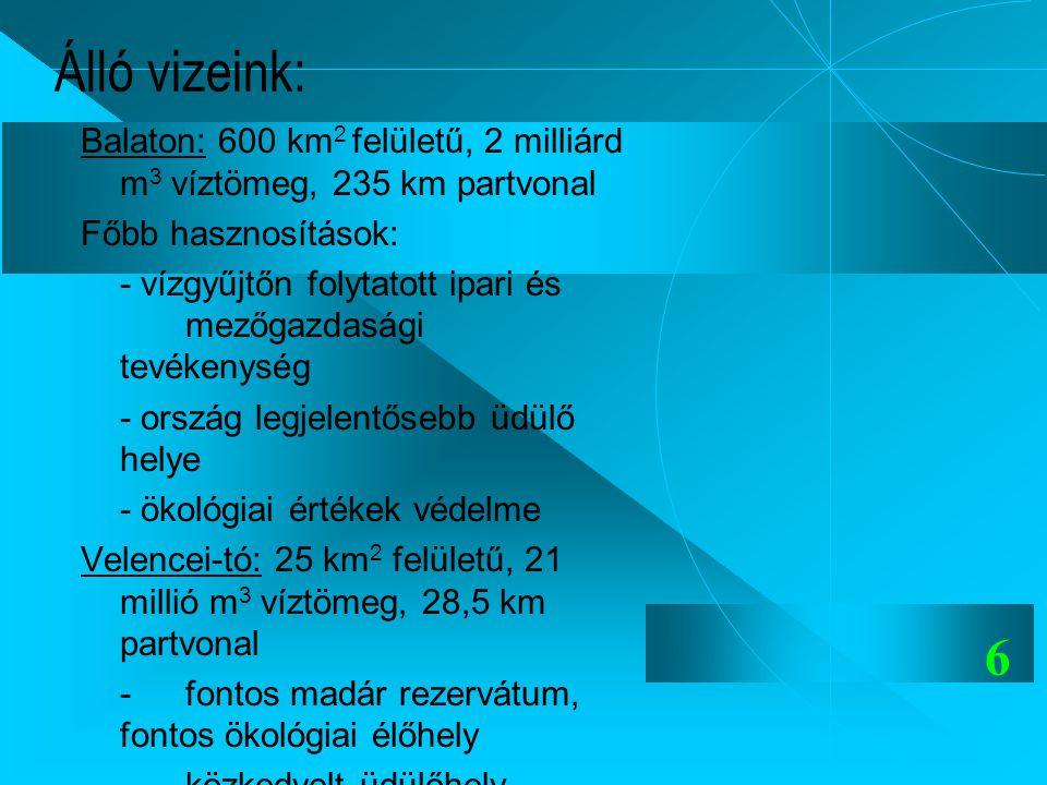 Álló vizeink: Balaton: 600 km2 felületű, 2 milliárd m3 víztömeg, 235 km partvonal. Főbb hasznosítások: