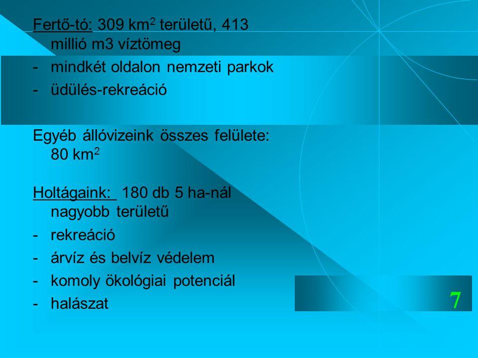 Fertő-tó: 309 km2 területű, 413 millió m3 víztömeg