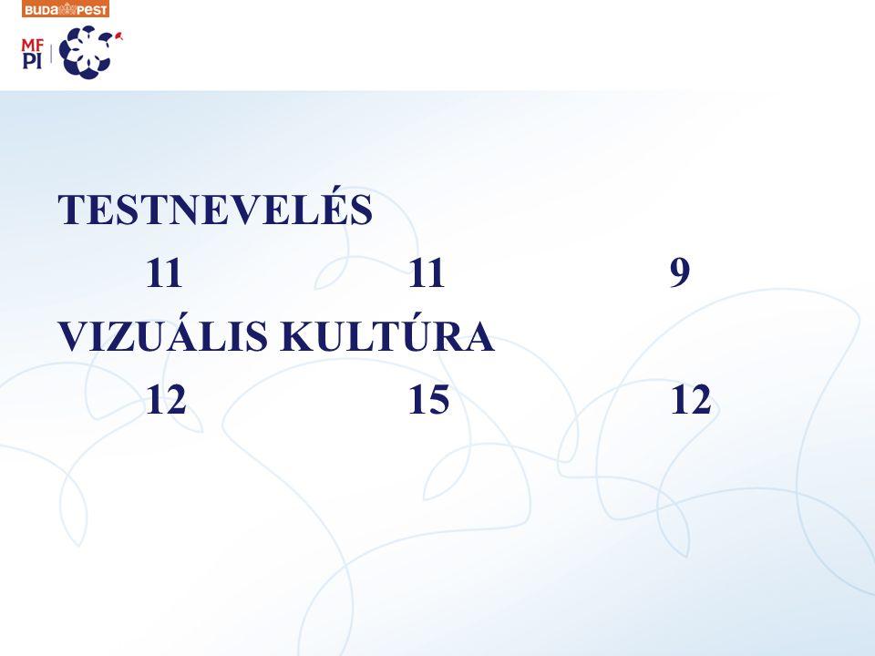 TESTNEVELÉS 11 11 9 VIZUÁLIS KULTÚRA 12 15 12