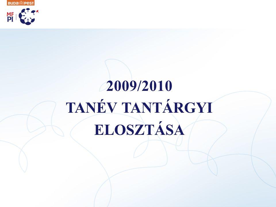 2009/2010 TANÉV TANTÁRGYI ELOSZTÁSA
