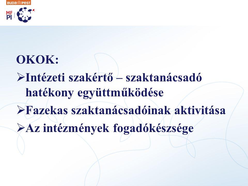 OKOK: Intézeti szakértő – szaktanácsadó hatékony együttműködése. Fazekas szaktanácsadóinak aktivitása.